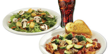 Pasta Combo Meal comes with soup or salad and beverage