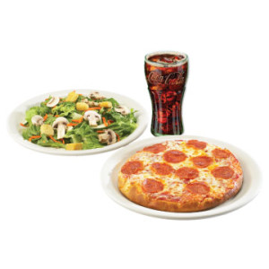 Pizza Combo Meal includes soup or salad and beverage
