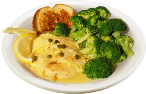 Chicken Picatta lunch with broccoli