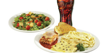 Sampler Combo Meal includes soup or salad and beverage