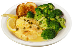 Chicken Picatta lunch with broccoli